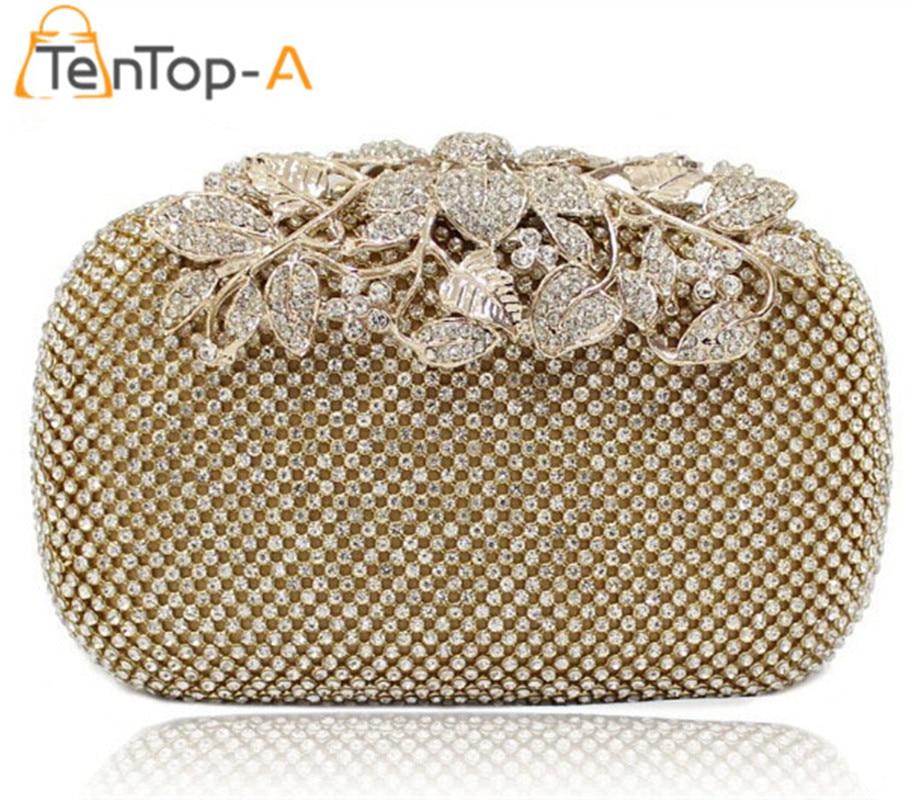 ФОТО TenTop-A bolsa feminina Both Side Diamond Flower Crystal Evening Bag Clutch Bags Upscale Styling Day Clutches Lady Wedding Purse