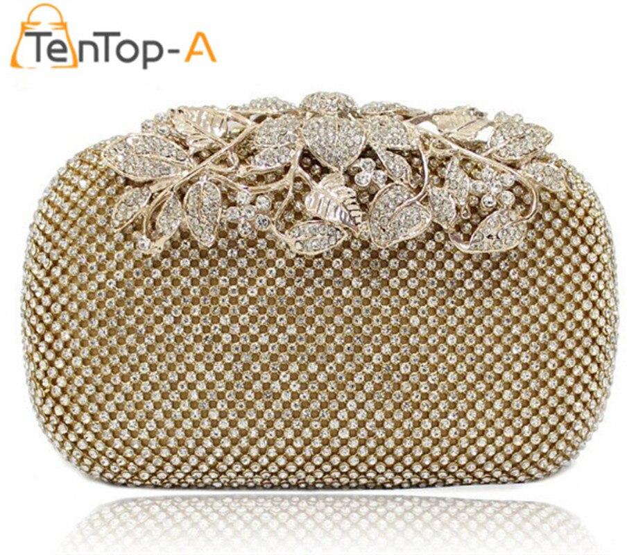 TenTop-Una bolsa feminina Ambos Lados de Flores de Diamantes de Cristal Bolso de