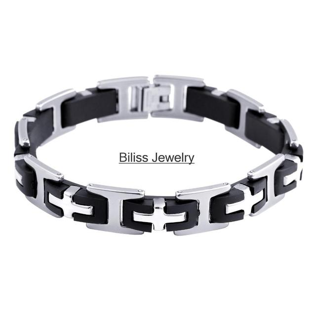 Fine Jewelry Mens Stainless Steel & Black Rubber Chain Bracelet ki1DCB2C