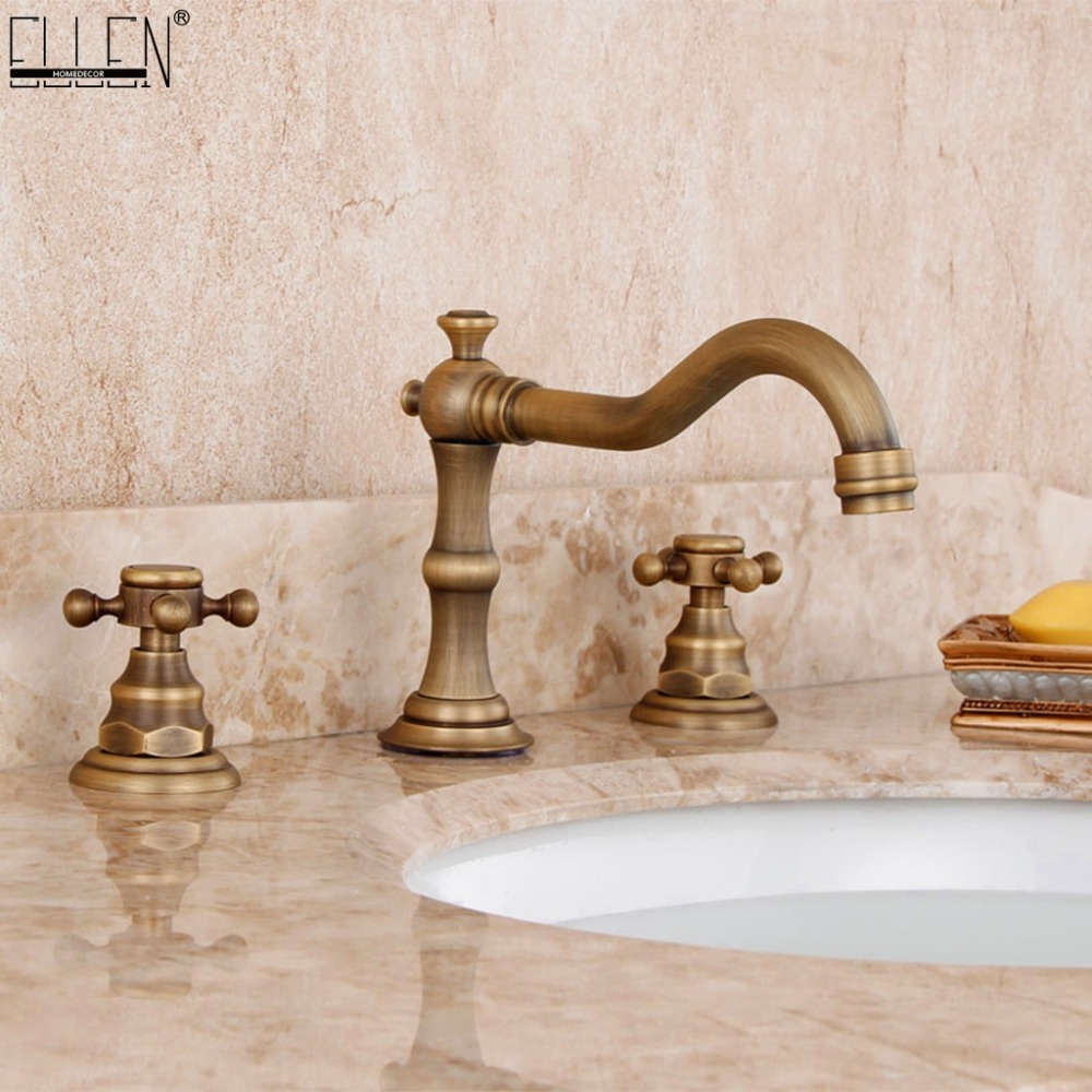 Antique Bronze Faucets Widespread Bathroom Basin Sink Mixer Tap Dual Handle Deck Mounted 3 Hole Faucet EL1202A basin faucets high antique bronze brushed deck mounted bathroom sink faucet single handle hole toilet mixer tap yd 702