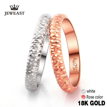 18k Pure Gold Ring Rose White Unisex Men Women Lover Wedding Engagement Fine Jewelry
