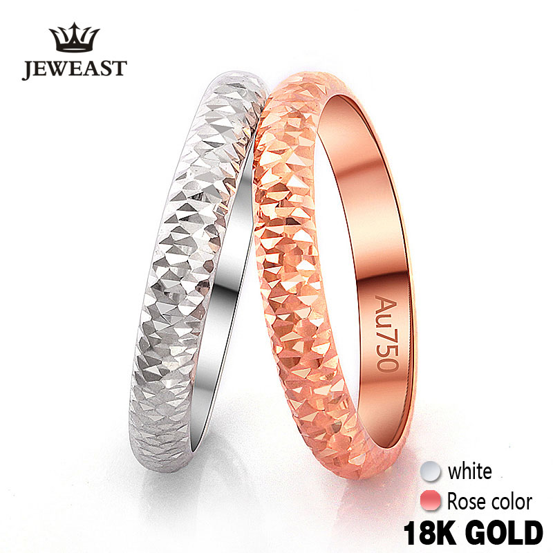 Кольцо из чистого золота 18 К, розовое белое, унисекс, для мужчин и женщин, для влюбленных, для свадьбы, помолвки, хорошее ювелирное изделие, подарок для девушек, лидер продаж 2017, настраиваемый