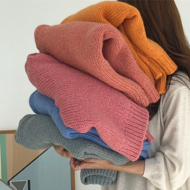 8 Colors 2018 Autumn And Winter Vintage Loose Sweaters Womens Sweaters And Pullovers Womens  (X7049)