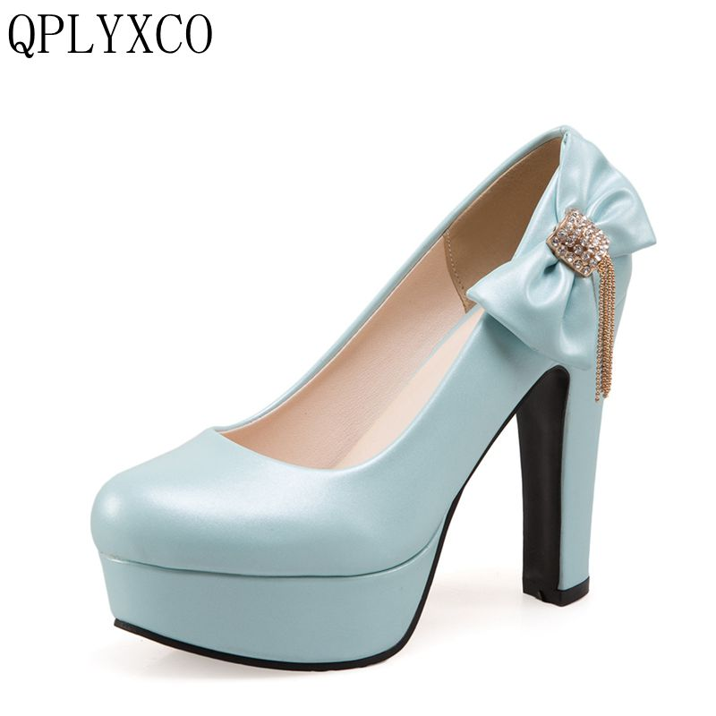 QPLYXCO New Super big size 34-50 shoes 4 Colour Pumps Women round toe high heels sweet party wedding shoes factory sale 3123 qplyxco 2017 new sale ladys big size 30 47 shoes women pumps fashion sexy high heels shoes party wedding pointed toe shoes a 3
