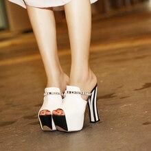 2017 Summer Sexy Girl White Black Stripe Rhinestone PU Platform High Heels Women Sandals Peep Toe Woman Casual Slipper Shoes