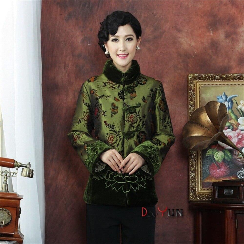 Remise D'hiver Vert Chinois D'âge Moyen Femmes de Satin de Soie Ouatée Veste Broderie Costume de Saveur Survêtement M L XL XXL 3XL 4XL