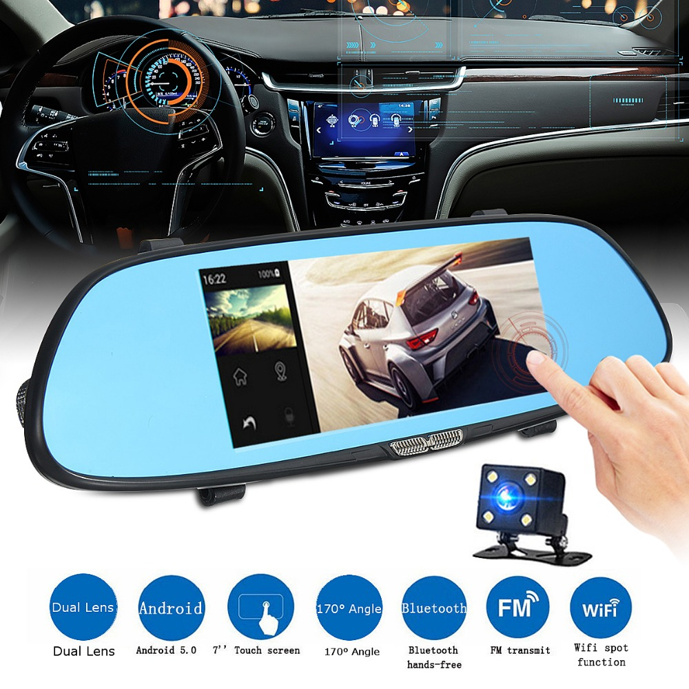 7 Inch 1080P HD 3G Car DVR Rearview Mirror Video Recorder Touch Screen G-Sensor Dash Cam цена