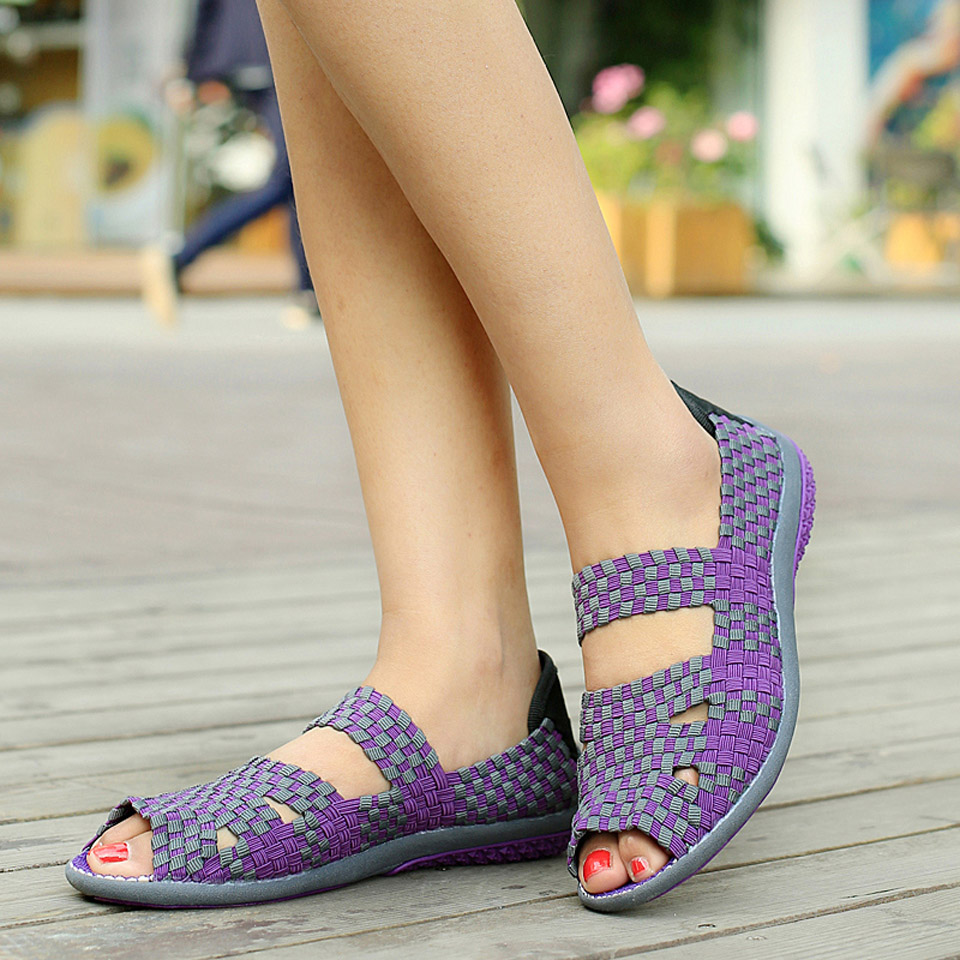 HTB1zChcp XYBeNkHFrdq6AiuVXa0 EOFK Women Sandals Handmade Woven Flat Shoes Woman 2019 Summer Fashion Breathable Casual Slip-On Colorful Female Footwear