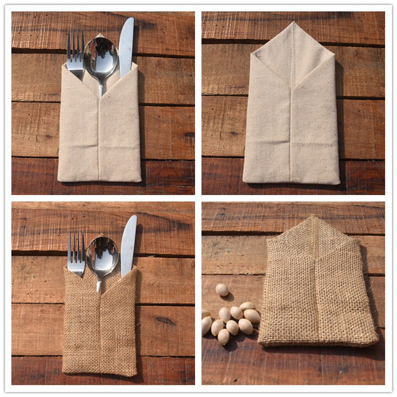 Us 28 5 Off 50 100pcs Country Wedding Table Silverware Holder Natural Burlap Cutlery Pockets Fork Rustic Decor Centerpieces In