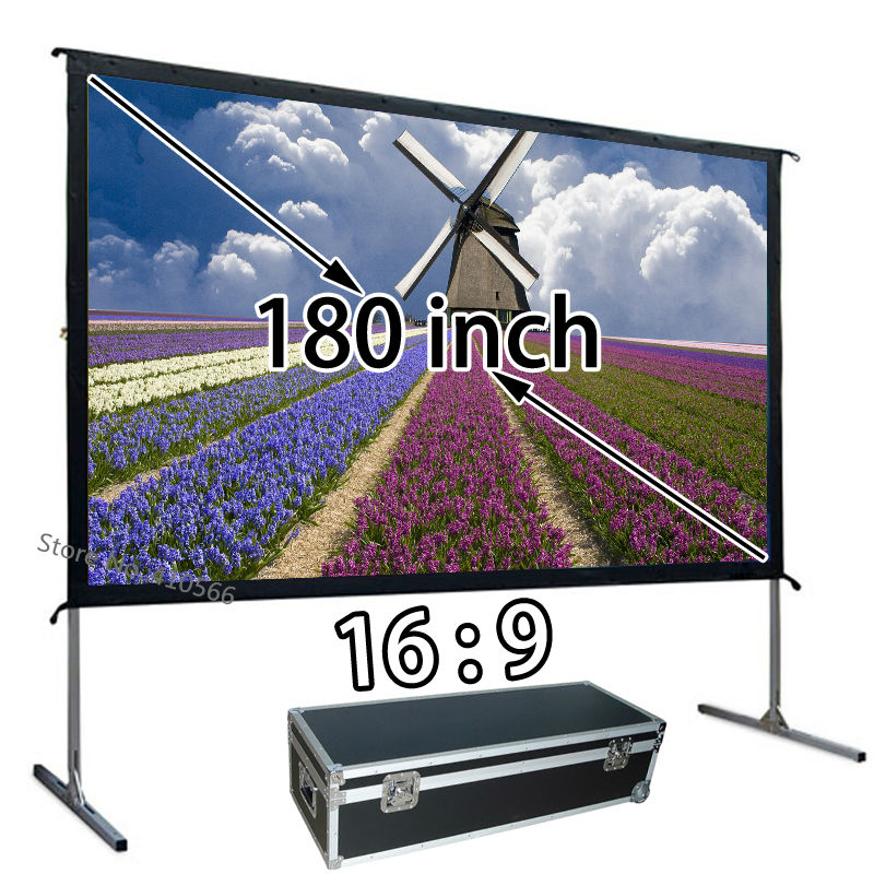 Awesome Image 180 Quick Fold Portable Projection Screen 16:9 Floor Stand Screens With Carry Case Support Ultra HD 4K new hd 150 inch projector screen 4 3 fast fold front projection screens with strong frame portable carry case for outdoor page 2