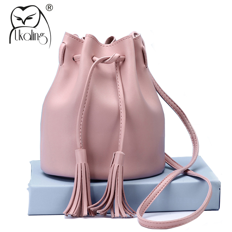 UKQLING Small Women Messenger Bags Bucket Handbag Cheap Cross Body Bag for Women Bag Female Tassel Shoulder Purse Lady Sac women bucket messenger bag purple shoulder bags for ladies handbag bolsa feminina small purse