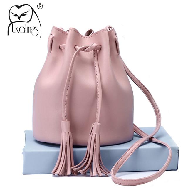 Ukqling Small Women Messenger Bags Bucket Handbag Cross Body Bag For Female Tassel