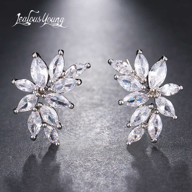 Classic Leaf Shape Bright Cubic Zirconia Stud Earrings For Women Yellow Silver Color Big Stud Earings Jewelry Gift brinco AE661