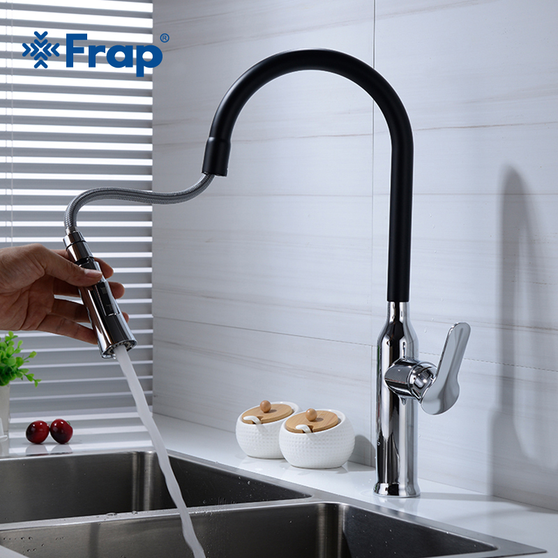 Frap Single Handle Chrome And Black Kitchen Faucet Pull Out Sink Mixer Tap Kitchen Taps Spray