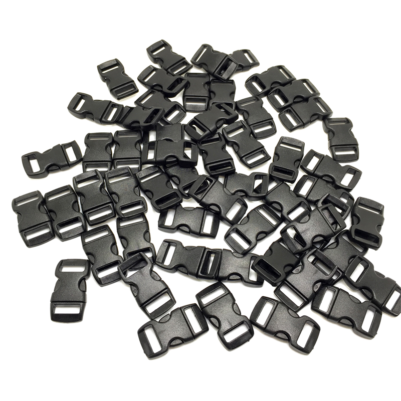 100pcs/lot Black plastic 3/8 / 10mm Curved Side Release Buckles Curved Clasp for 550 Par ...