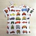 2016 Meninos do Verão T-shirt 100% Algodão Carro Impresso Curto-manga T-shirt Para Meninos 1-6 Anos Roupa Dos Miúdos marca Crianças Tops