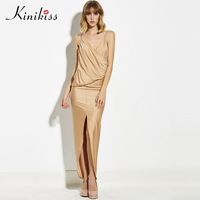 Kinikiss Maxi Dress Womens Summer Party Dresses Deep Pleated Asmmetrical V Neck Long Elegant Dress New