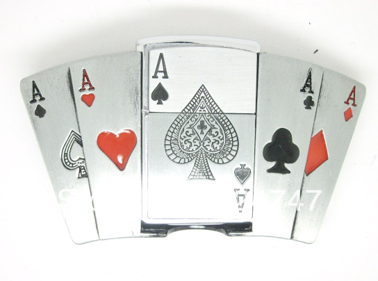Aces Lichtere Poker Belt Buckle