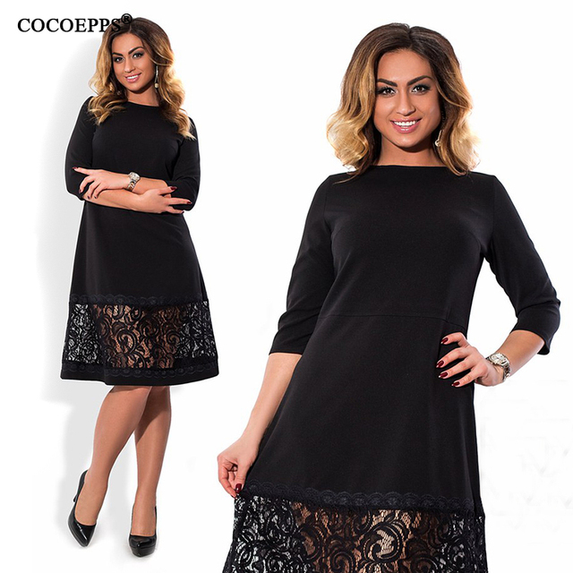 COCOEPPS L-6XL elegant blue women dress big sizes Autumn o-neck loose dresses plus size Knee-Length dress black red casual dress