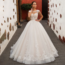 Eightree Elegant Lace Appliques Ball Gown O-Neck Tulle Court Train Wedding Dress Princess Cap Sleeve Bridal Gown Illusion Back lovely tulle ball gown wedding dress 2019 new sweetheart lace appliques off shoulder court train princess church bridal dresses