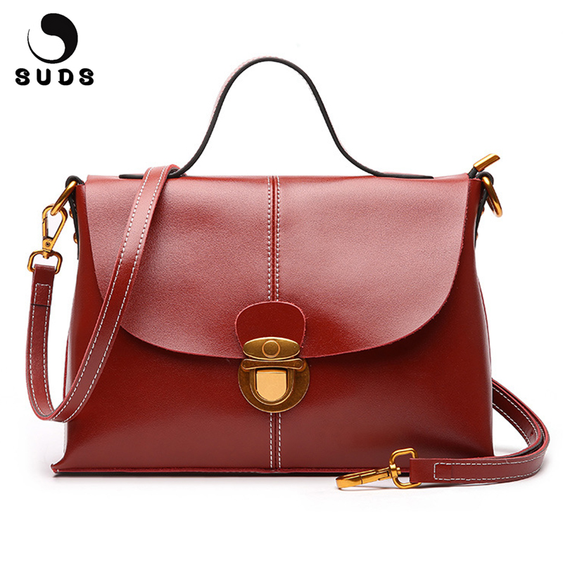 SUDS Brand Genuine Leather Bag Fashion Women Large Capacity Shoulder Bags Designer High Quality Cow Leather Women Messenger Bags suds brand women casual 100