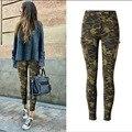 Европейский стиль чистого хлопка камуфляж брюки женщины плюс размер мода сексуальный беленой плиссированные тонкие джинсы с боковыми швами карман D218