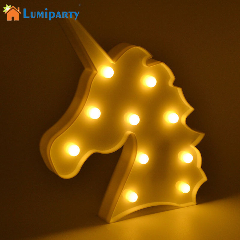 LumiParty Cute Unicorn Head LED Animal Marquee Lamps On Wall For Children Party Bedroom Decor Kids Gifts Night Light