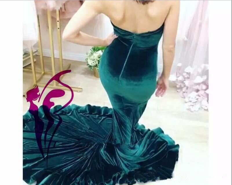 Hunter Velvet Mermaid Evening Dresses 2017 Strapless Vestidos De Festa Backless Sleeveless Dubai Arabic Sexy Prom Party Gowns