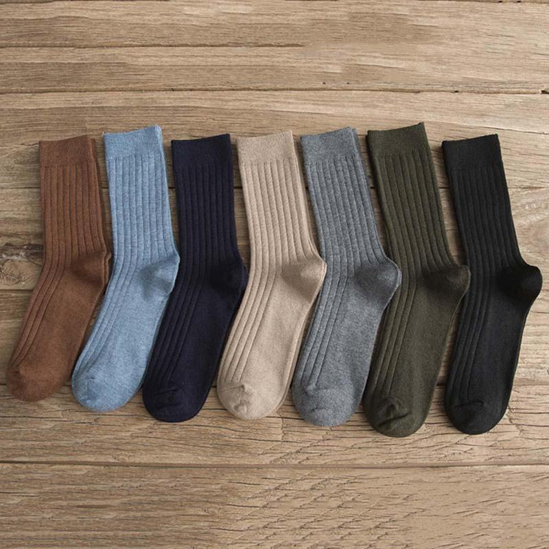 Men's Socks Combed Cotton Men Socks Male Business Dress Crew Sock Solid Color High Quality Cotton Men Socks Calcetines