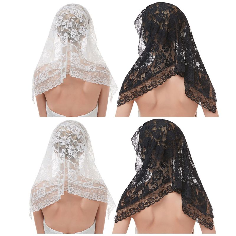 95x55CM One-Layer Women Short Wedding Veil Delicate Crochet Floral Lace Jacquard Scalloped Trim Bridal Veil Face Cover No Comb