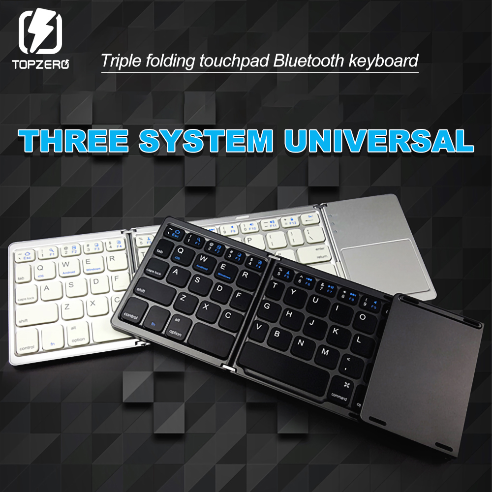 Folding Wireless Keyboard Mini Bluetooth Foldable Keypad with Touchpad For Ipad Phone IOS Android Windows PC Tablet BT Keyboard image
