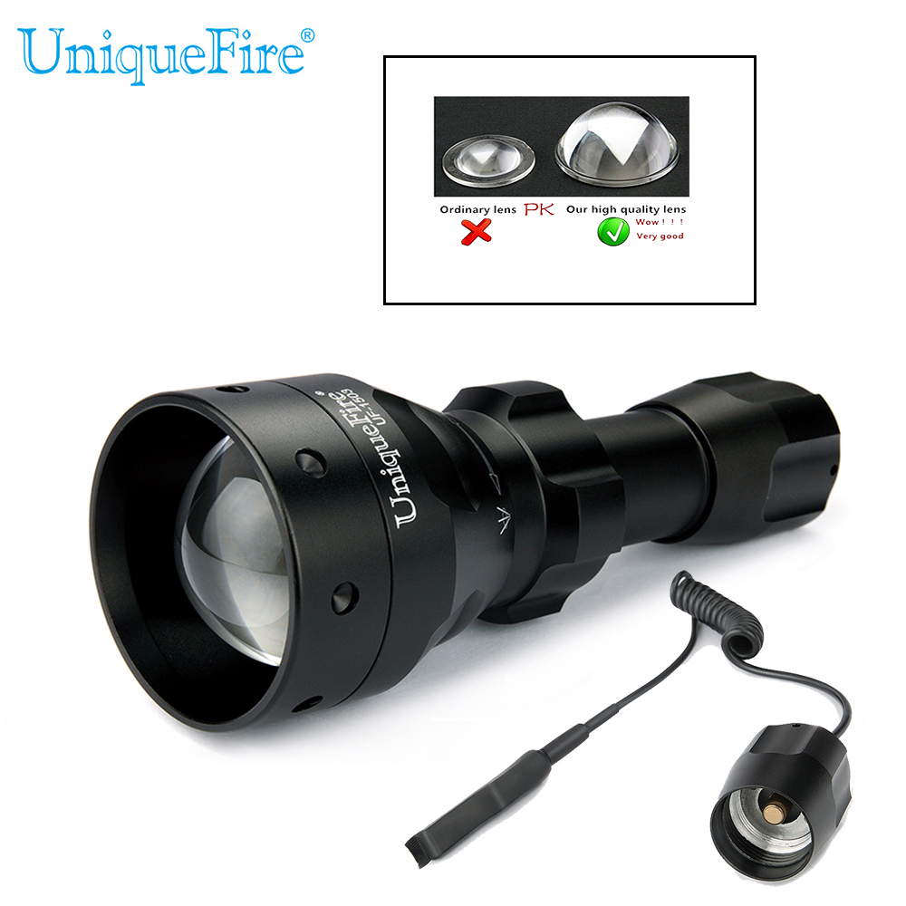 UniqueFire 1503 T50 IR 850nm 3 Modes LED Flashlight Night Vision Flashlight Infrared light Torch Zoomable+Remote Rat Tail Switch uniquefire 1405 ir 850nm 67mm rechargeable torch 3 modes zoomable lens led flashlight charger mount rat tail for camping hunting