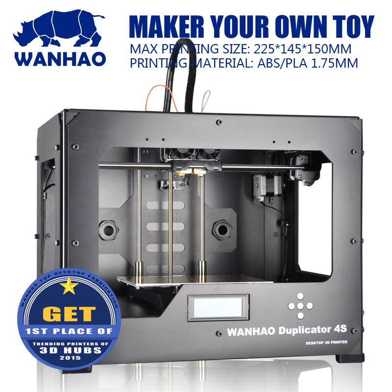 Promotional DIY 3D Printer, Wanhao Dual extruder Duplicator 4S, metal frame, MK9 Upgrading with 2 free filaments,SD card as gift hot sale wanhao d4s 3d printer dual extruder with multicolor material in high precision with lcd and free filaments sd card