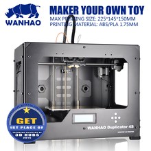 Promotional DIY 3D Printer, Wanhao Dual extruder Duplicator 4S, metal frame, MK9 Upgrading with 2 free filaments,SD card as gift