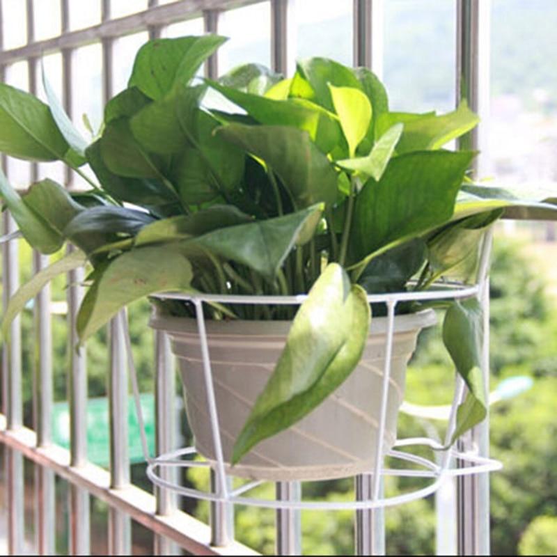 Outdoor Hanging Plant Iron Racks Balcony Round Flower Pot Rack Railing Fence