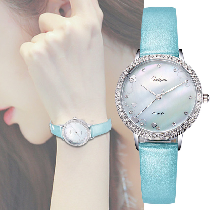 Ladies Quartz Watch Rhinestones Shell Dial Genuine Leather Strap Waterproof Wrist Watches For Women Relogio Feminino 81130 чайник scarlett чайник scarlett sc ek14e04 white blue