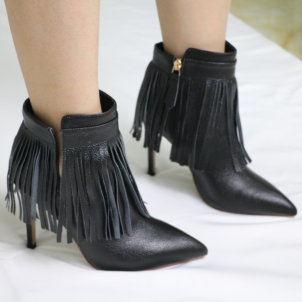 2018 New Arrival Pointed Toe Fringe Ankle Boots Women Cow Leather Tassel Super High Heels Customized Size 42 Brand Shoes Free new arrival women boots plus size shoes lcce up pointed toe high quality full grain leather fashion boots free shipping