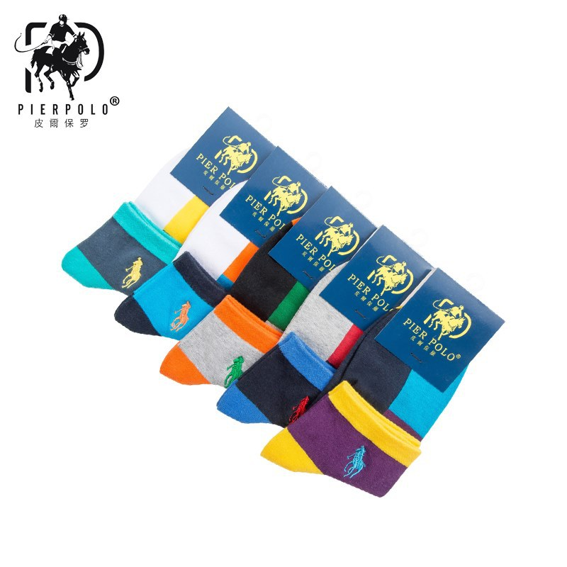 PIER POLO New Men's Casual Socks Spring And Autumn Festival Authentic Breathable Sock Men's Deodorant Cotton Socks 5 Pairs