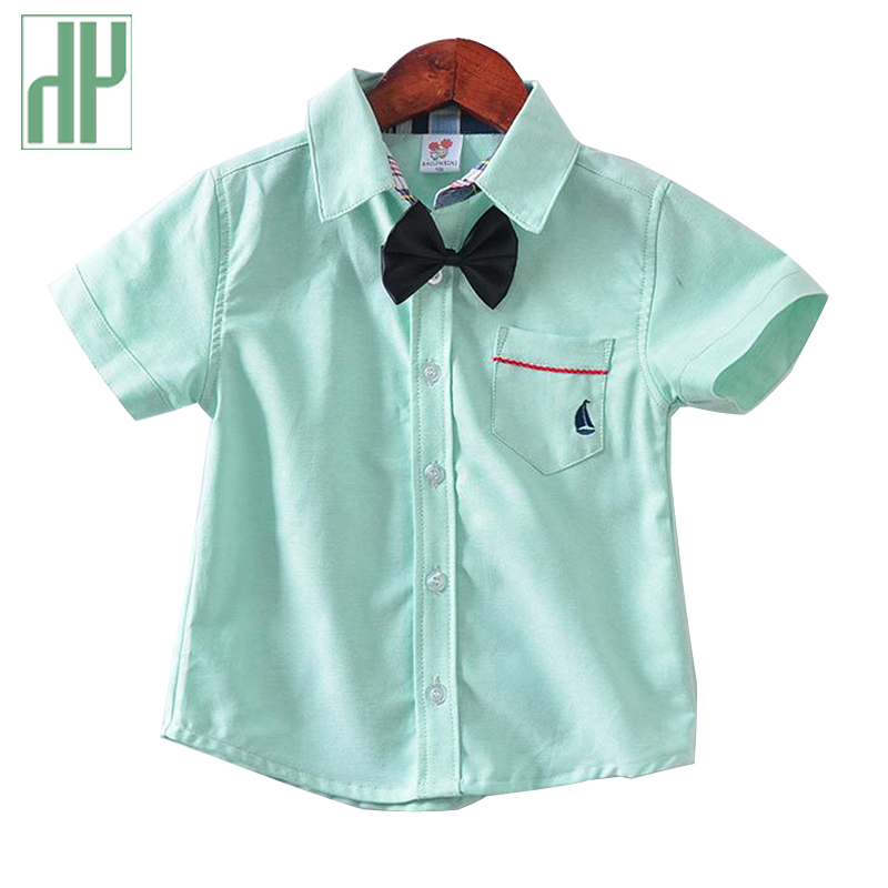 Bebê Meninos camisas de Manga Curta camisas formais para meninos roupas de verão moda Casual Com Laço rosa verde azul blusa branca crianças