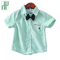 Baby Boys shirts Short Sleeve summer formal shirts for boys clothes Casual fashion With Tie pink blue green white blouse kids