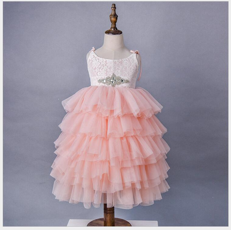 Soft Lace Floral Summer Maxi Dress Kids Birthday Party Princess Dresses long layered dress Mesh tiered tulle wedding dress 6pcs floral lace mesh night dress