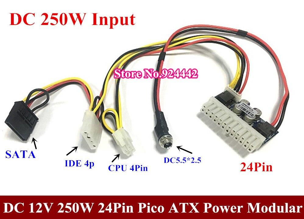 DC 12 v ingresso 24Pin Pico ATX 250 w Interruttore PSU Auto Auto Mini ITX Modulo Ad Alta Potenza di Alimentazione ITX z1 4Pin CPU 4 p IDE molex SATA DC 160 w
