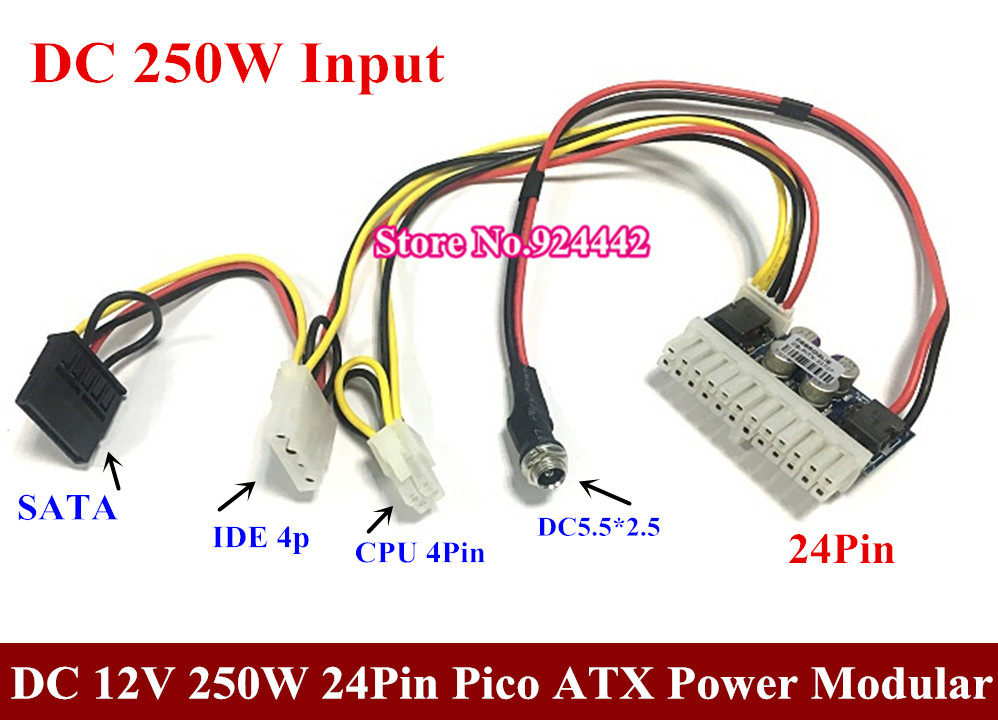 цена DC 12V input 24Pin Pico ATX 250W Switch PSU Car Auto Mini ITX High Power Supply Module ITX Z1 4Pin CPU 4P IDE molex SATA DC 160w
