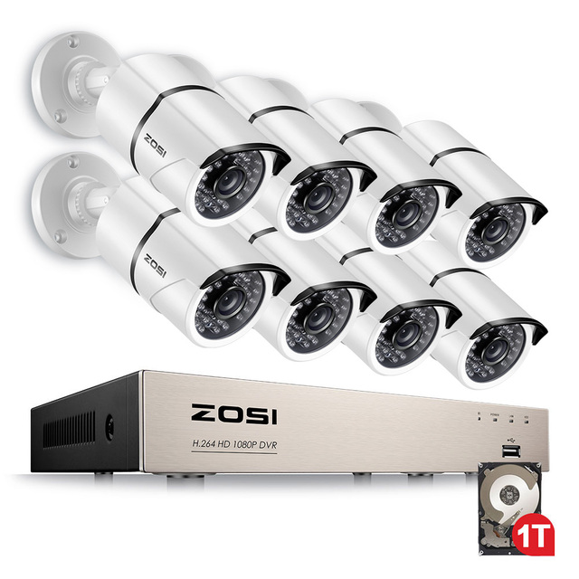 ZOSI 1080P 8CH TVI DVR with 8X 1080P HD Outdoor Home Security ...