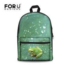 Forudesigns/лягушка печати рюкзак для подростков для мальчиков и девочек, Волк тигр детей холст Рюкзаки, дети Back Pack Рюкзак Mochila,