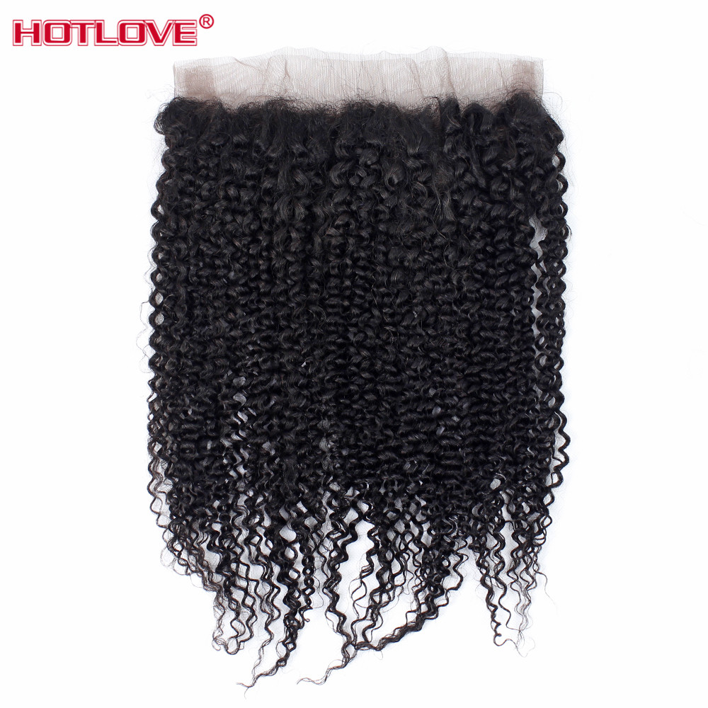 Peruvian 360 Lace Frontal Kinky Curly Closure With Baby Hair Pre Plucked Natural Hairline 130 Density
