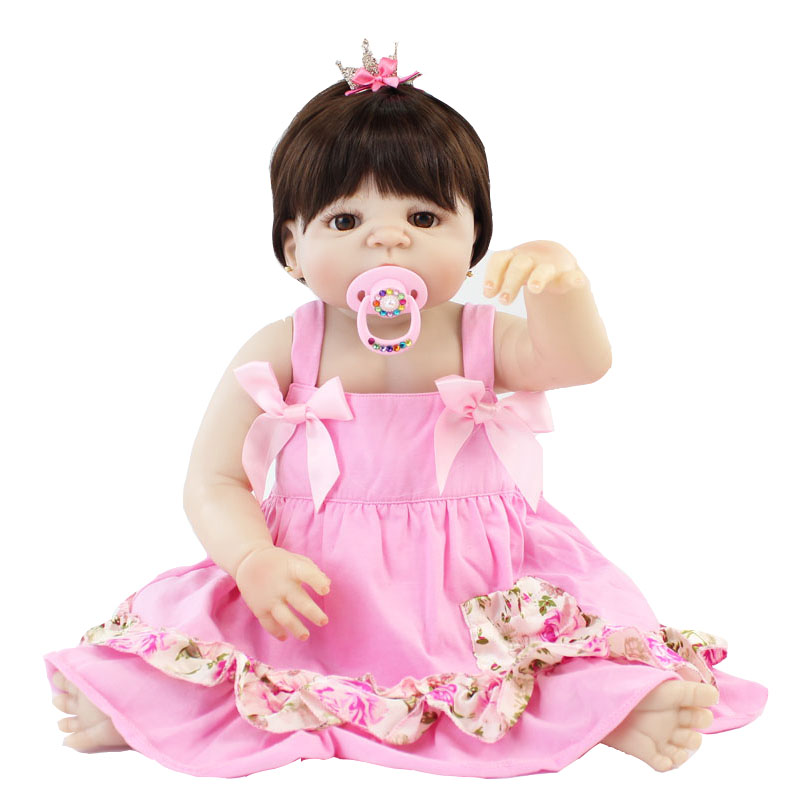 55cm Full Silicone Reborn Baby Doll Toy Soft Vinyl Newborn Princess Brown Hair Girl Babies Bebe Alive Bathe Toy Birthday Gift 55cm victoria soft vinyl reborn baby dolls in pink dress 22 inch full vinyl newborn bebe reborn doll princess girl birthday gift