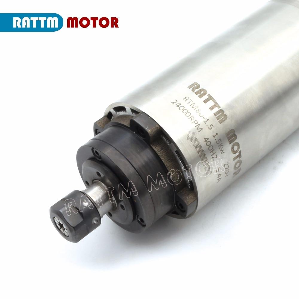 1 5KW Air Cooled Spindle Motor ER16 220V 80mm 24000rpm 0 6Nm 5 4A 400HZ Engraving