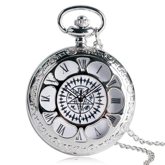 Antique Hollow Pocket Watch Kuroshitsuji Black Magic Pattern Design Casual Penda