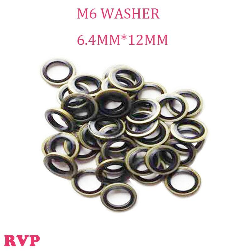 Free Shipping M6 Seal Pads Rubber Metal Shim Seal Gasket NBR Metal Washers 1 LOT=100PCS